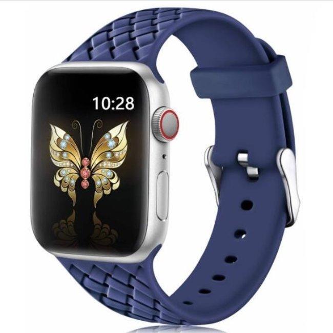 Apple watch banda di silicone intrecciata - mezzanotte