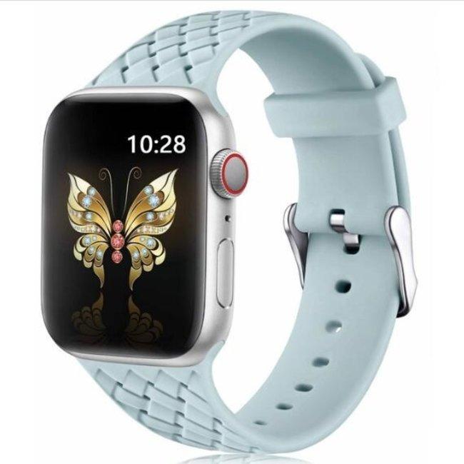 Apple watch banda di silicone intrecciata - blu