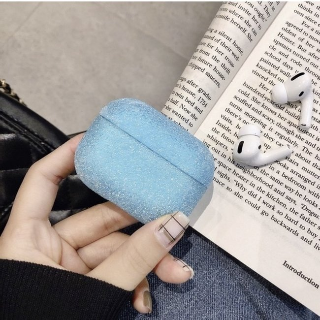 Custodia rigida glitterata Apple AirPods PRO - blu