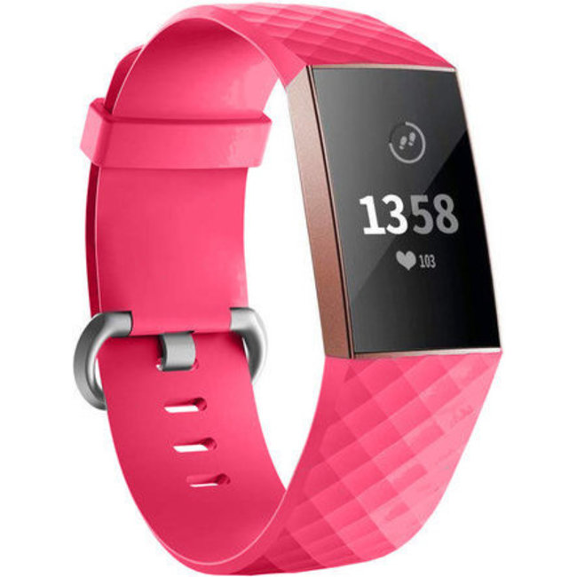 Fitbit charge 3 & 4 fascia sport waffle - rosa rosso