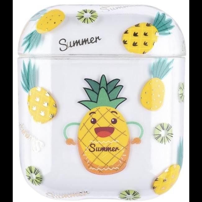 Apple AirPods 1 & 2 custodia rigida trasparente e divertente - ananas