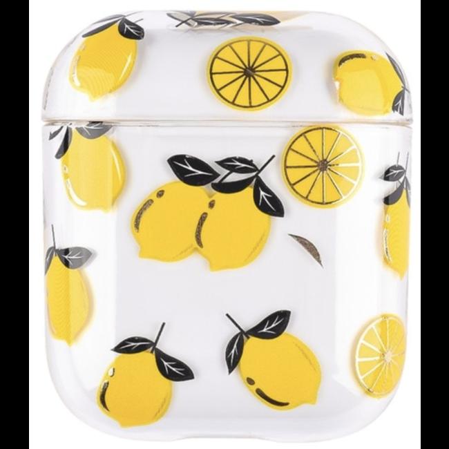 Apple AirPods 1 & 2 custodia rigida trasparente e divertente - limone