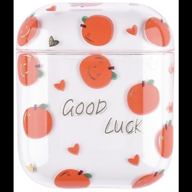 Apple AirPods 1 & 2 custodia rigida trasparente e divertente - arancione