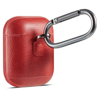 Marca 123watches Custodia Apple AirPods 1 & 2 solido lederen - rosso