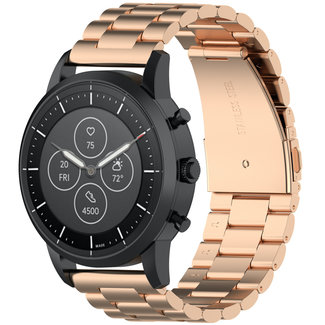 Marca 123watches Garmin Vivoactive / Vivomove banda di tre perline di collegamento in acciaio - rosa oro