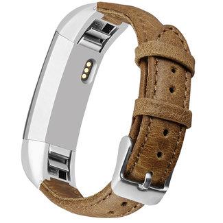 Marca 123watches Fitbit Alta cinturino in vera pelle - chiaromarrone