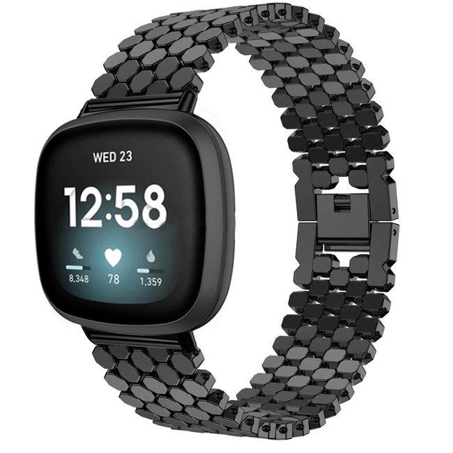 Fitbit Versa 3 / Sense pesce cinturino a maglie d'acciaio - nero