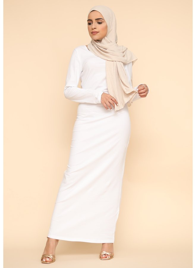 Robe nuisette manche longue -blanc