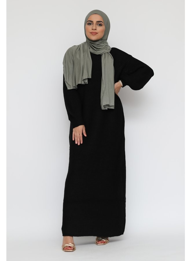 Long sweater dress with puffed sleeve -black