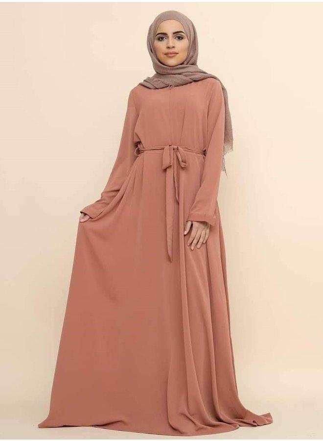 A-lijn zip abaya -peach