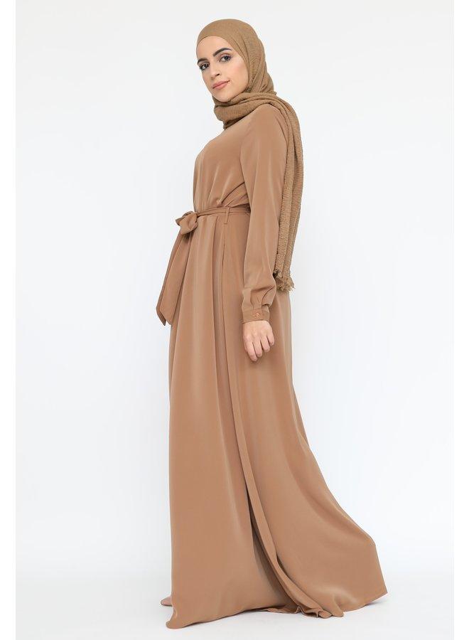 A-lijn zip abaya -camel