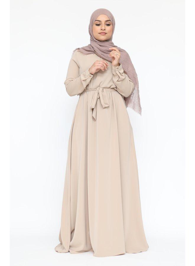 A-lijn abaya met rits -beige