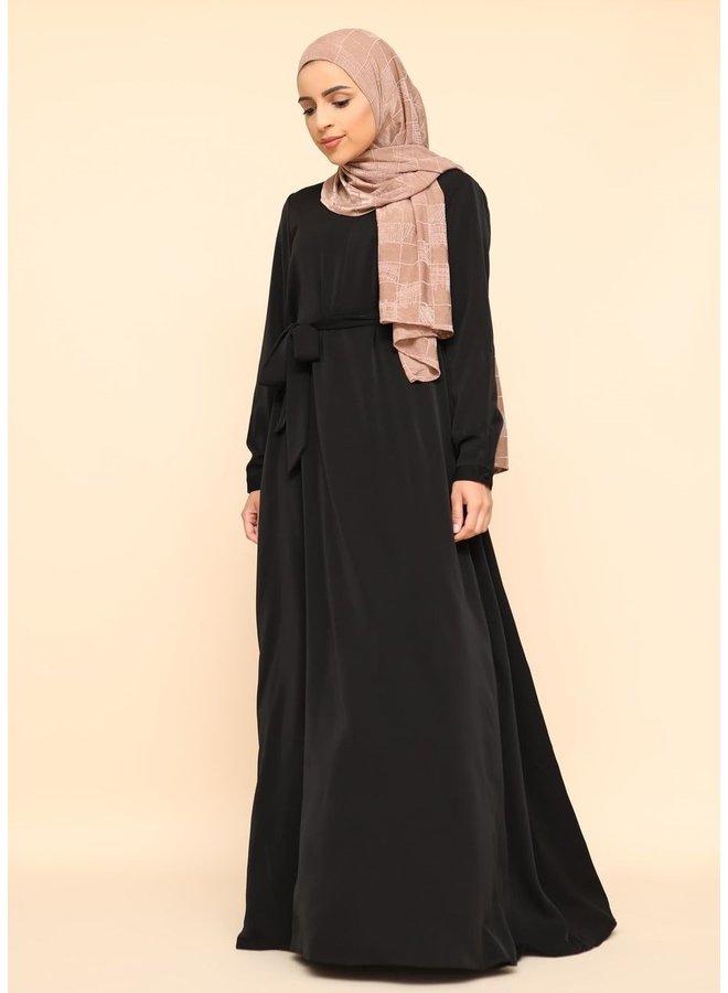 A-lijn abaya met rits -zwart