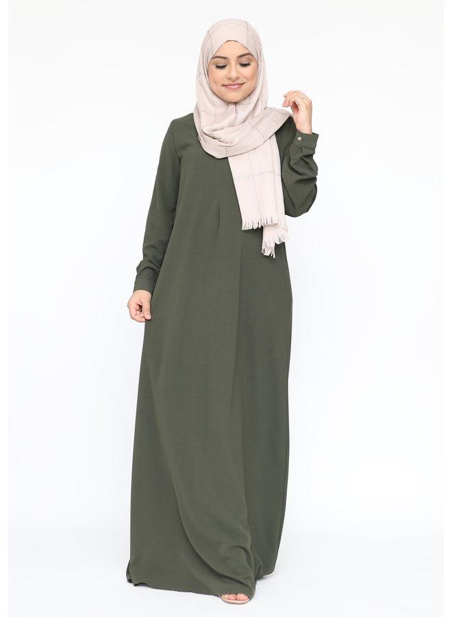Basic abaya met rits -legergroen