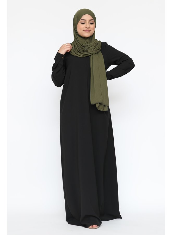 Basic abaya with zip -black