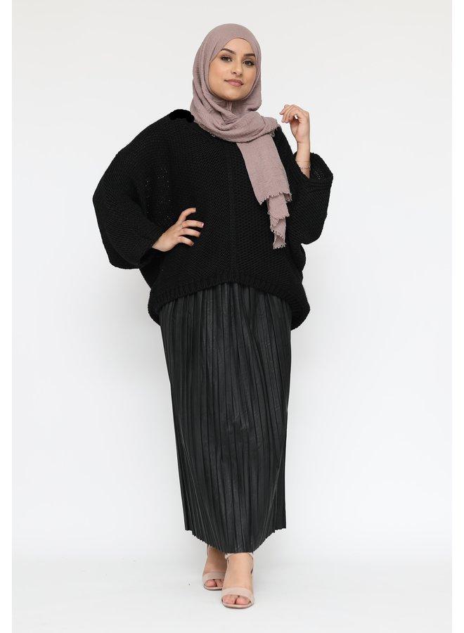 Oversized trui met v-hals -zwart