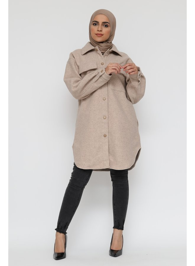 Thick cardigan with buttons -creme