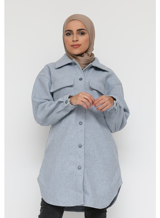 Thick cardigan with buttons -blue