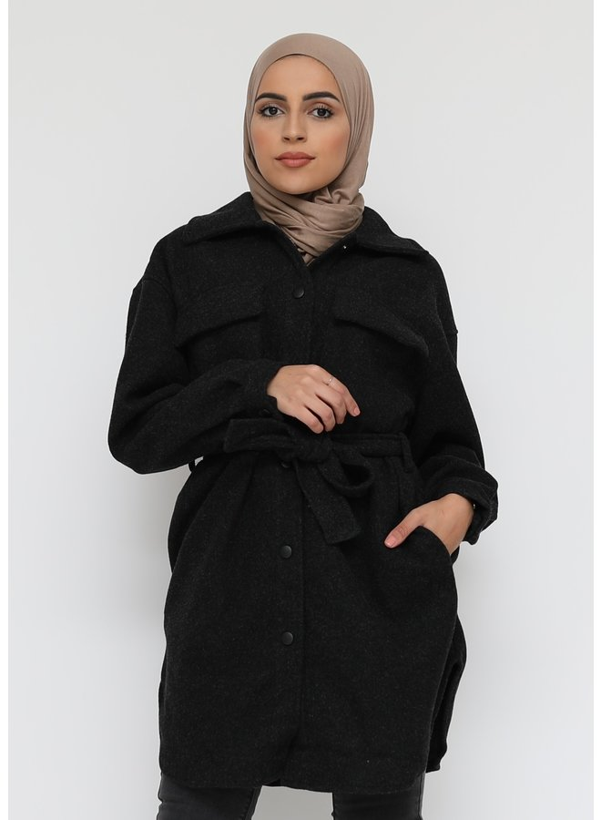 Thick cardigan with buttons -black