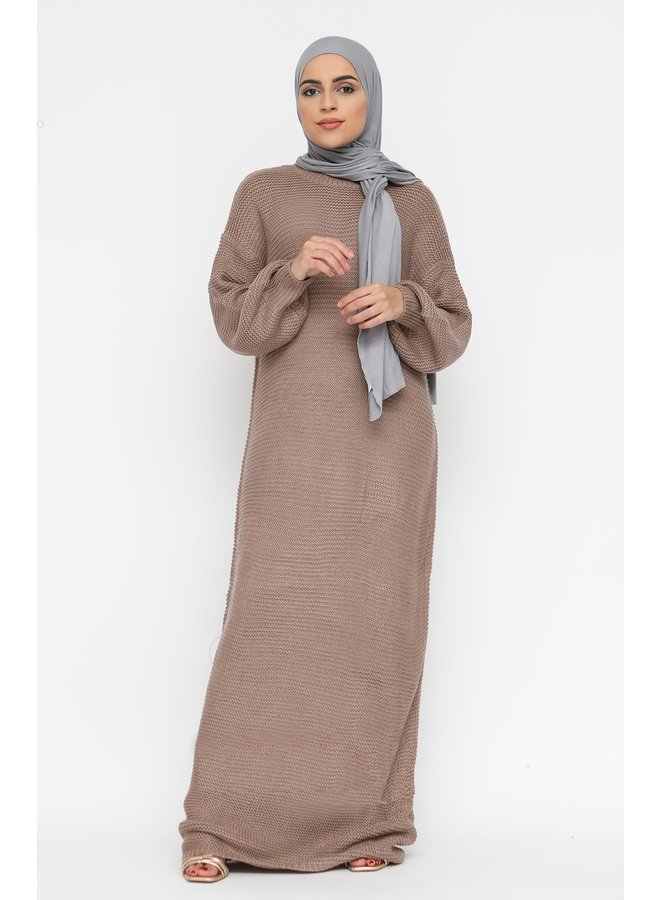 Long sweater dress with puffed sleeve -taupe