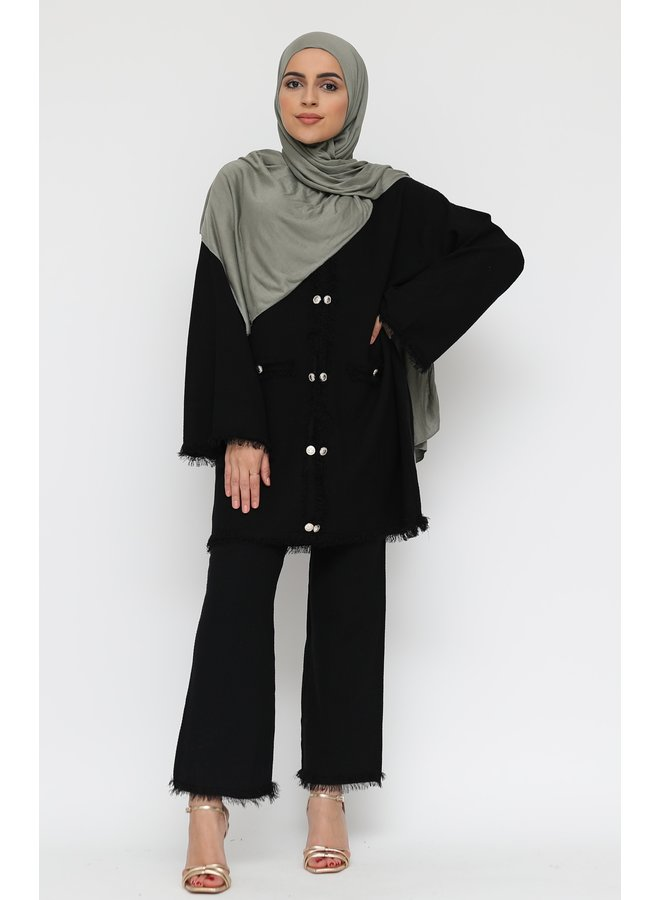 Twinset with golden buttons -black