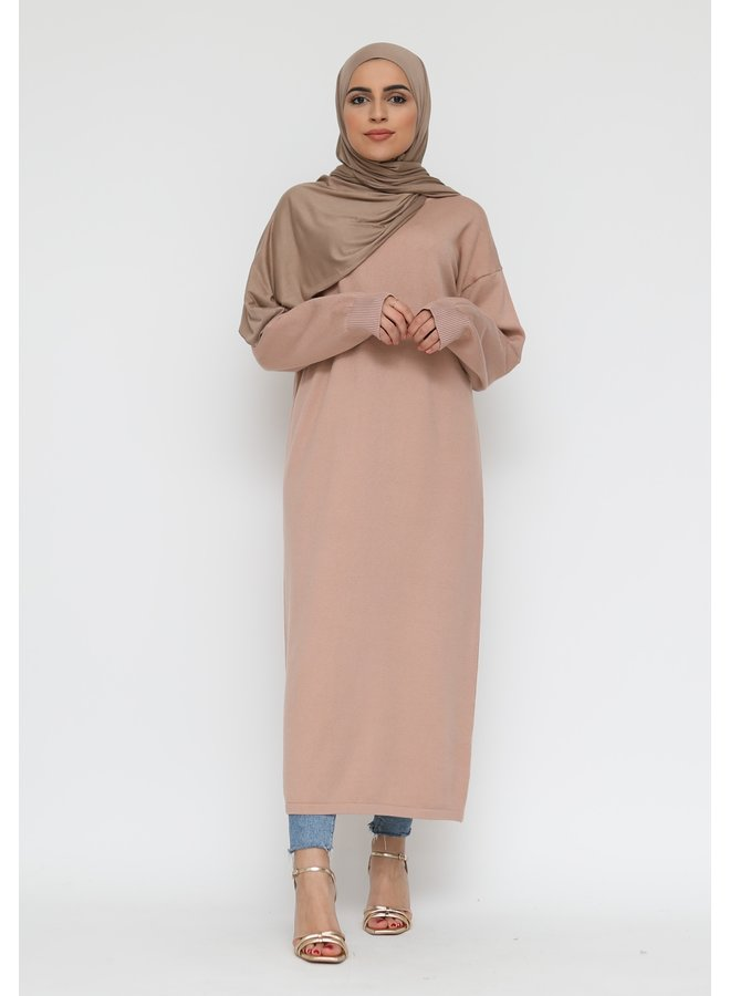 Basic long sweater -nude