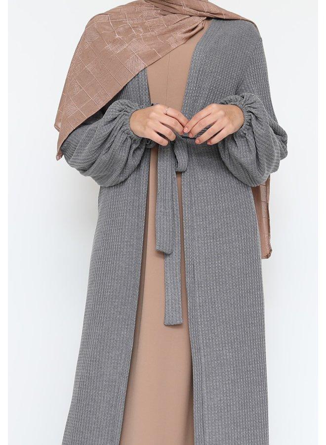 Cardigan long avec ceinture - gris foncé