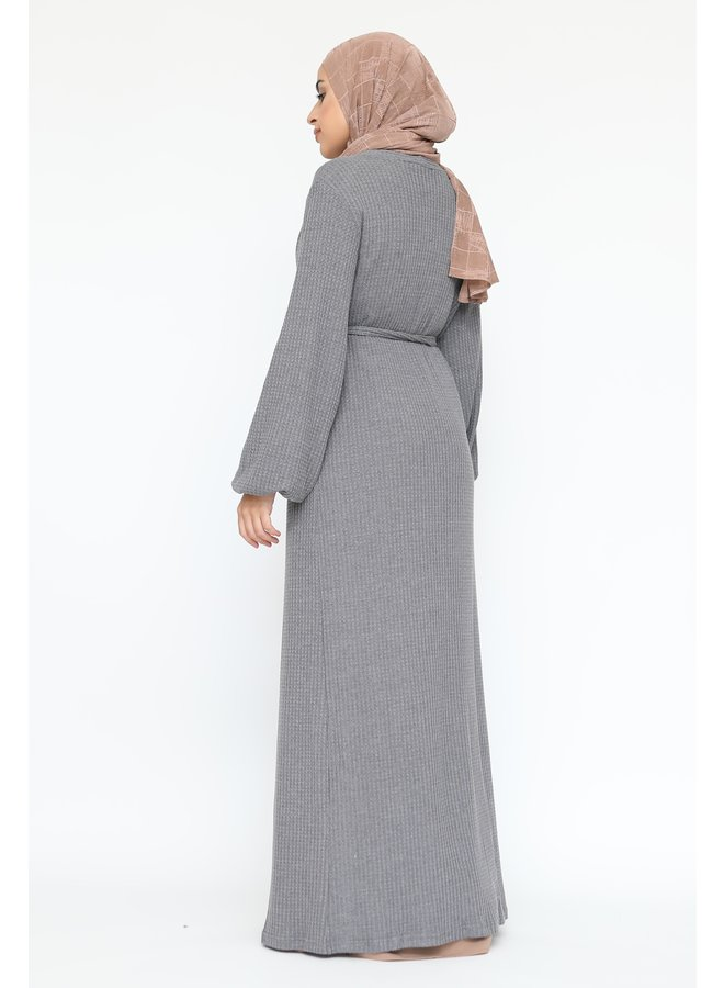 Long cardigan with belt - gray