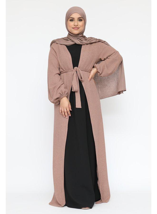 Long cardigan with belt - camel
