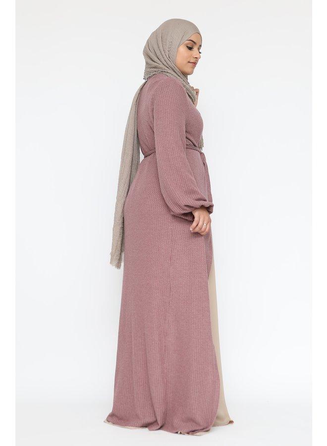 Long cardigan with belt - mauve