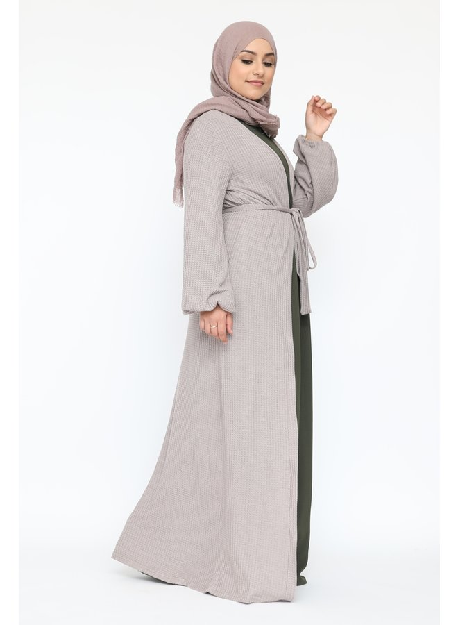 Long cardigan with belt - taupe