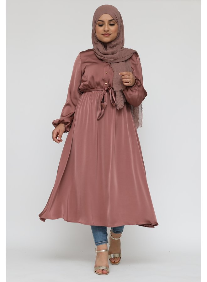 Satin dress with buttons - rose