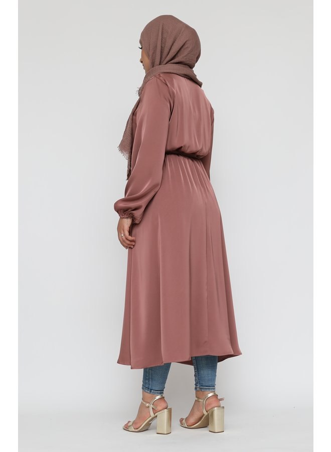 Satijnen jurk met knoopjes - rose