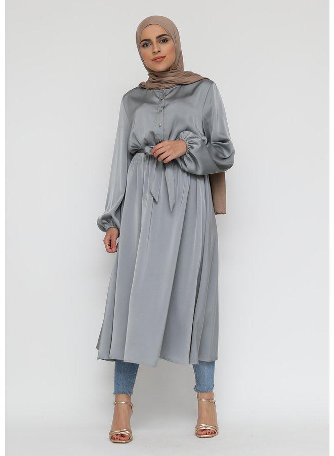 Satijnen jurk met knoopjes - grijs