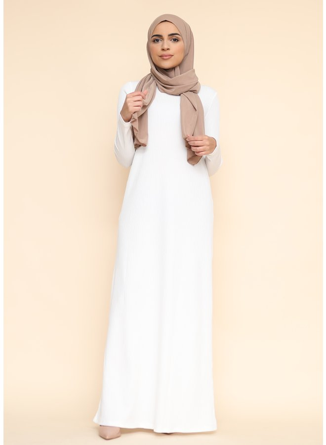 Long ribbed sweater dress -white