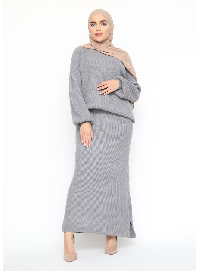 Classy twinset with skirt - darkgray