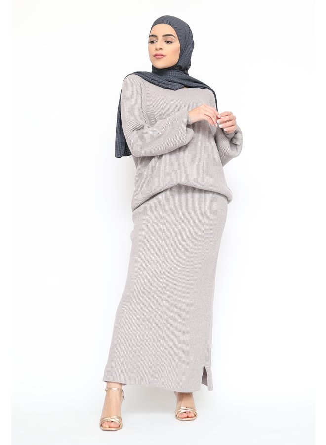 Classy twinset with skirt - taupe