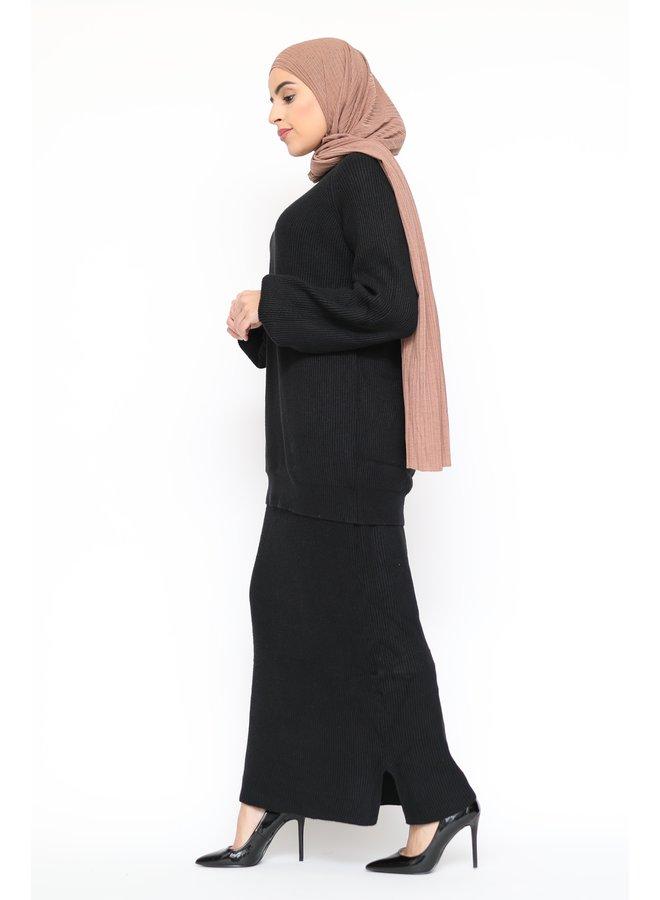 Classy twinset met rok - zwart