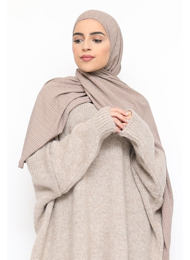 Scarf with glitter pattern - taupe
