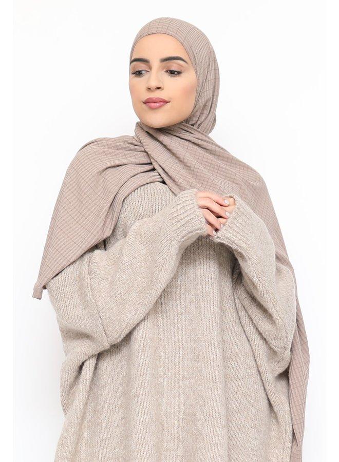 Sjaal met glitterpatroon - taupe