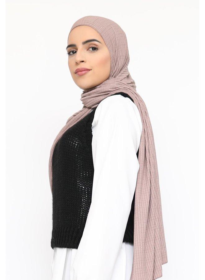 Sjaal met glitterpatroon - mauve