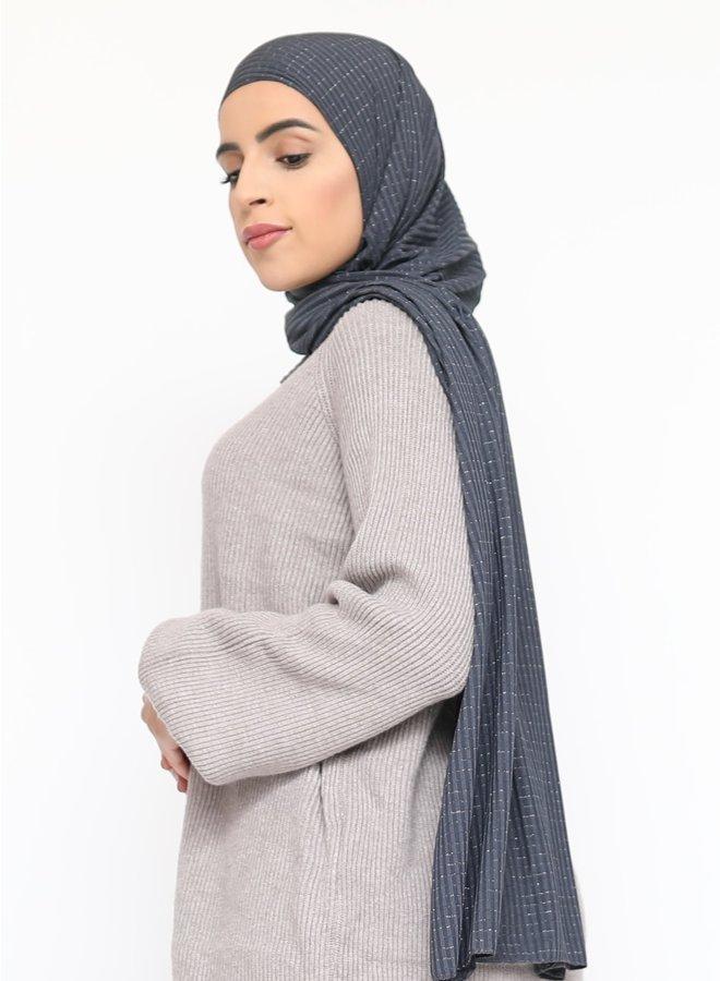 Sjaal met glitterpatroon - donkergrijs