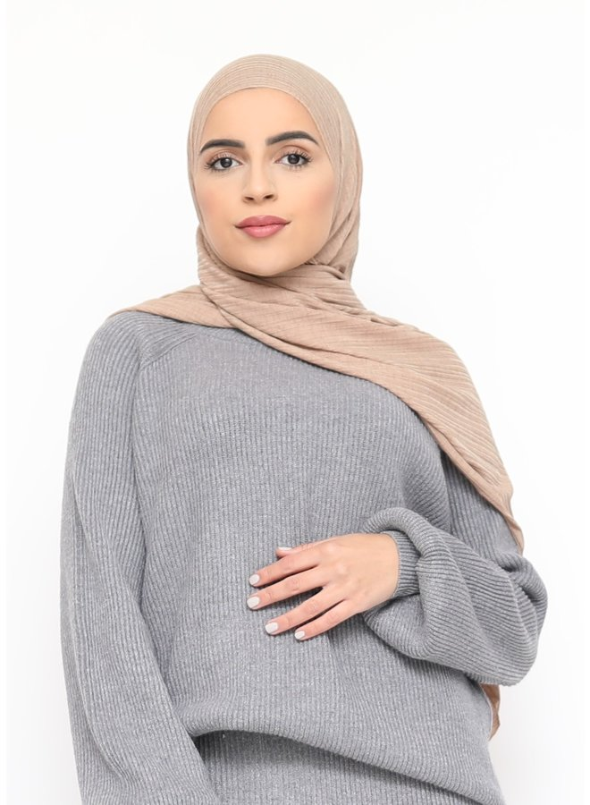 Stretch rib scarf - camel