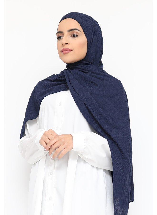 Stretch rib scarf - darkblue