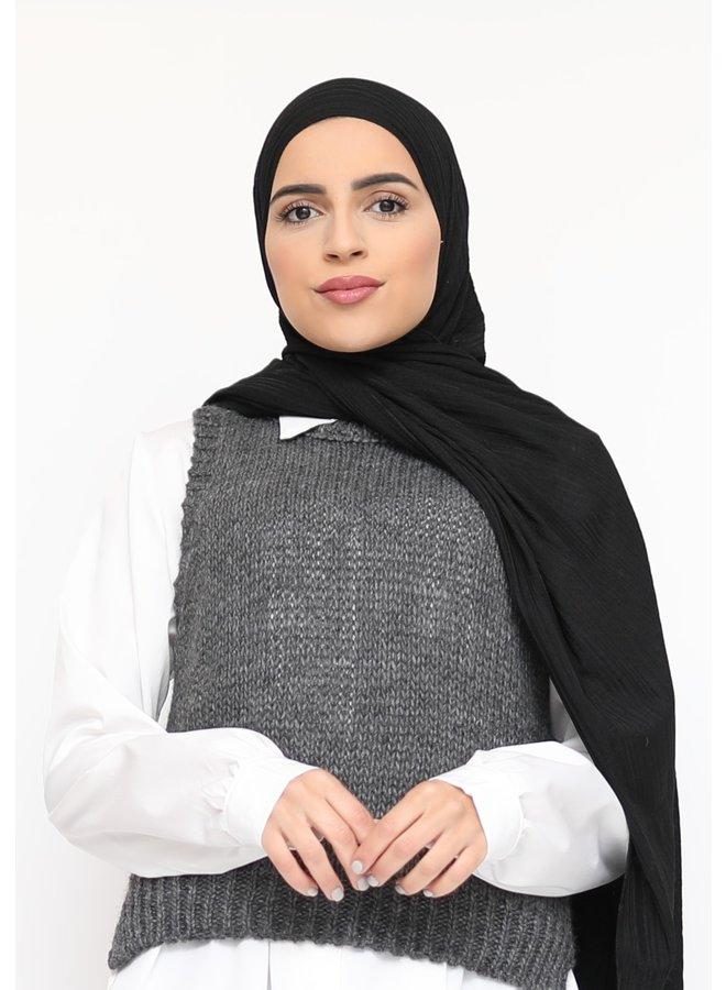 Stretch rib scarf - black