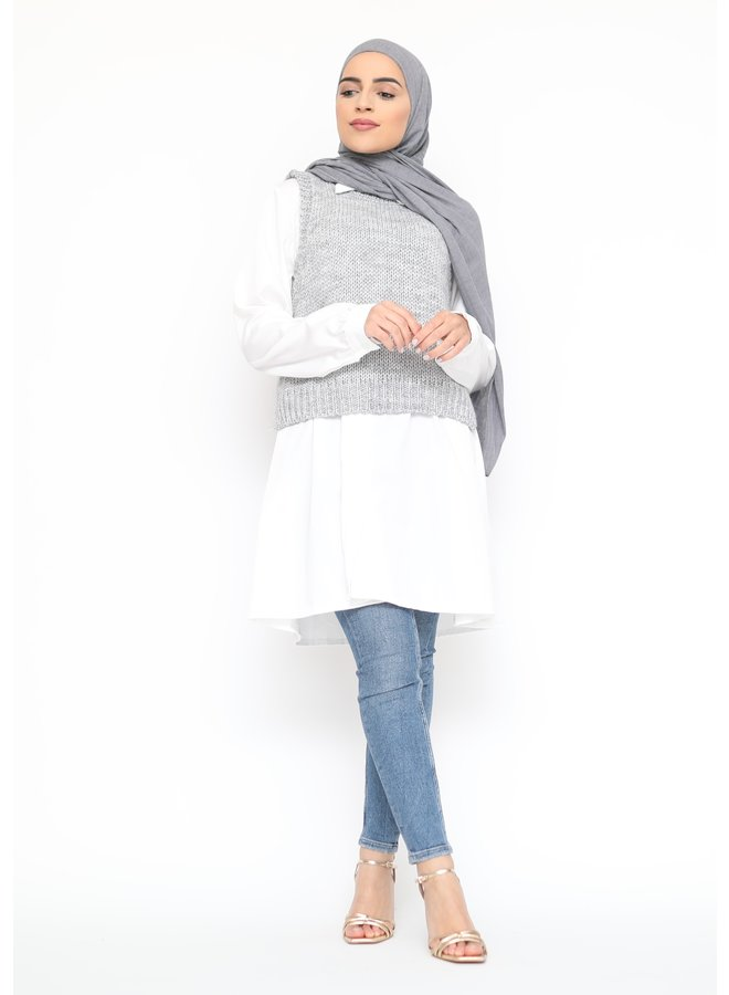 Woolen gilet - lightgray