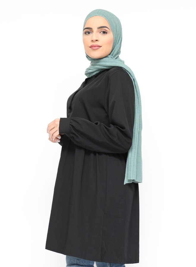 Tunic with buttons - black