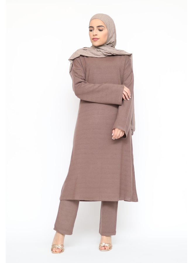 Comfy twinset with pants - mocca