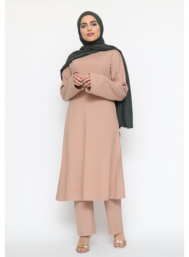 Comfy twinset with pants - nude
