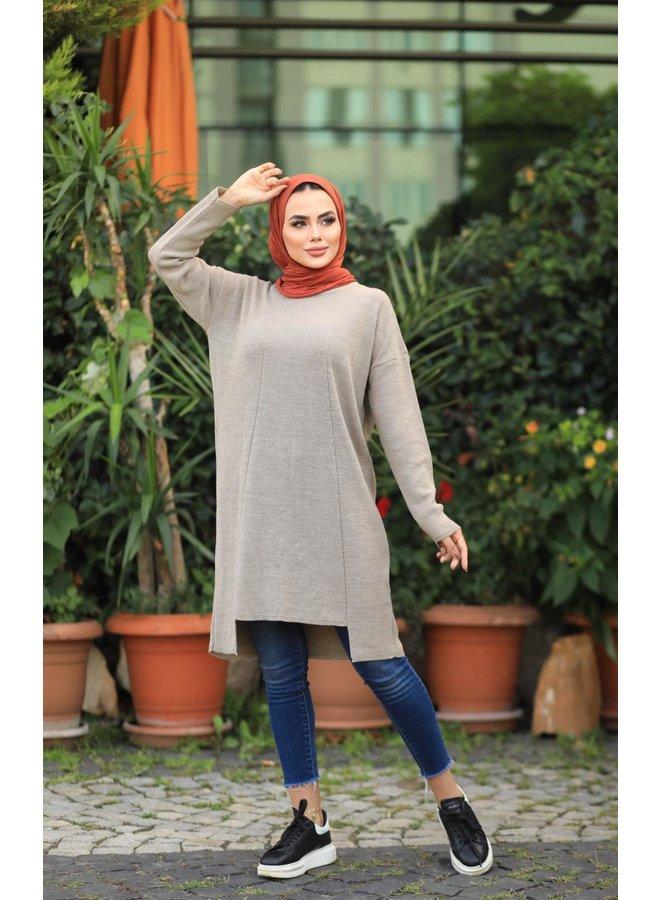 Midi oversized sweater - beige